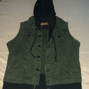 Jackets & Blazers - GREEN & BLACK VEST WITH HOODIE